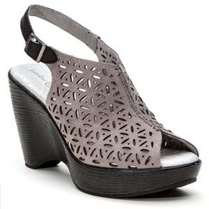Jambu Charcoal Vera Leather Platform Sandal